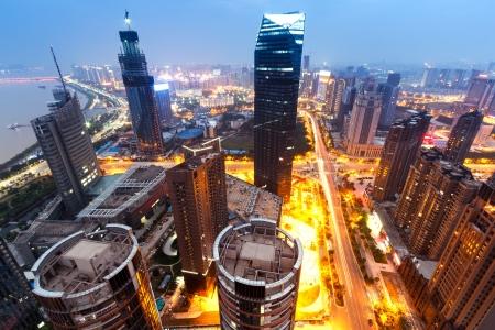 High-altitude city night scene