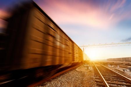 wood railroads: Freight train motion blur