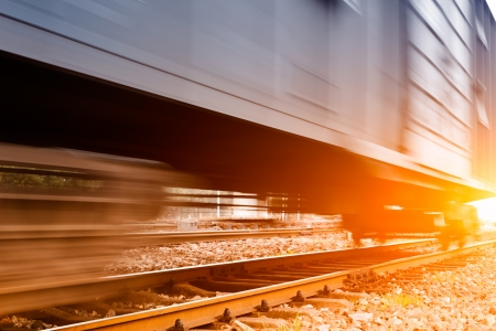 railroad transportation: Freight train motion blur