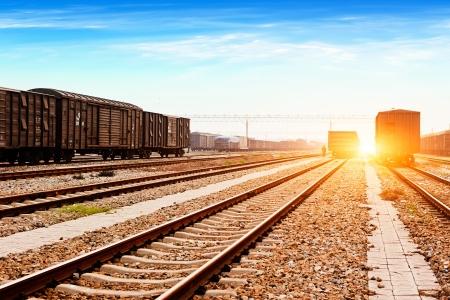 Rails under the sky background photo