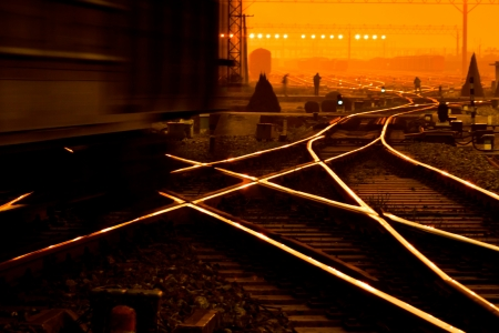Cargo train platform at sunset with container photo