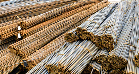 corode: Background texture of steel rods used in construction to reinforce concrete Stock Photo