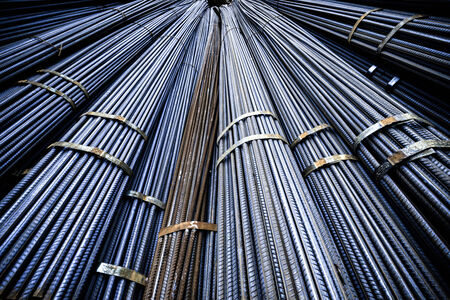 reinforcing bar: texture of steel rods used in construction to reinforce concrete