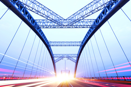 the night of modern bridge, Stockfoto