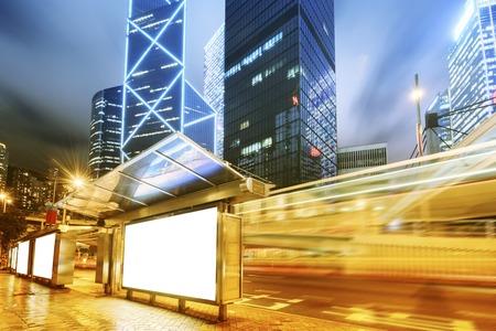 Billboards, bus station Stockfoto