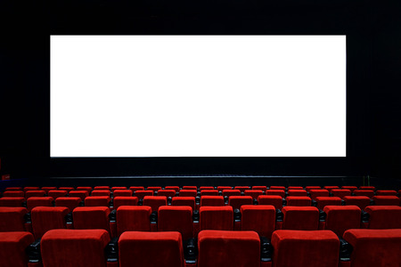 Empty movie theater with red seats Editorial