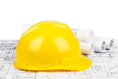 construction tools: Yellow Hard Hat Stock Photo