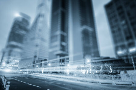 traffic building: the light trails on the modern building background in shanghai china