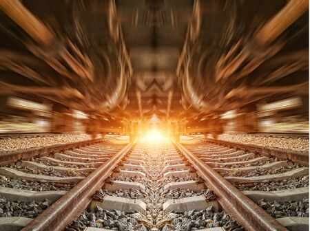 railway transports: Cargo train platform at sunset with container Stock Photo