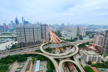 huangpu: guangzhou huangpu interchange road in nightfall