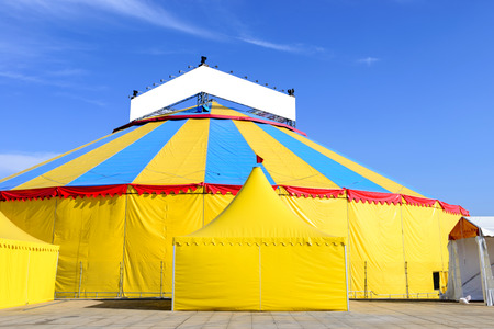 Construction circus at festivals , with tent and show Stock Photo
