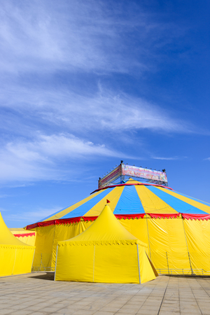 Construction circus at festivals , with tent and show Editorial