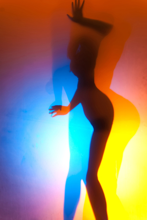sexy girl dance: diffuse sexy woman silhouette