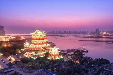 night scene of the tengwang pavilion in nanchang, China