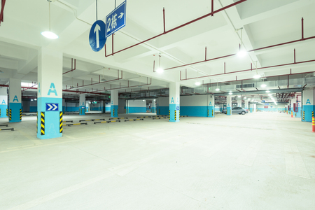 divide: Empty underground parking lot area Editorial