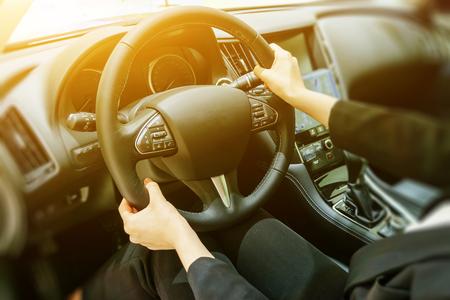 Driving, steering wheel Stock Photo