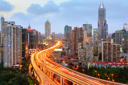 shanghai elevated road junction and interchange overpass at night Stock Photo - 77554996