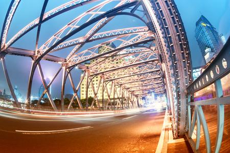 Night traffic lights inside of the  Waibaidu Bridge of shanghai china.