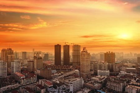 modern city at sunrise,Shanghai skyline Editorial