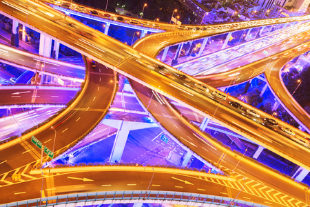 shanghai elevated road junction and interchange overpass at night Stock Photo - 77571264