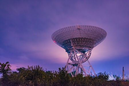 Electric telescope under night sky Stock Photo