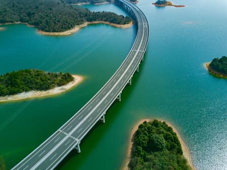 中国の沿岸の島、海辺の道、臨海道路