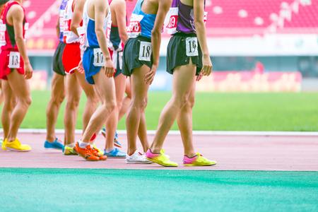 Athletes on the tracks at stadium, china