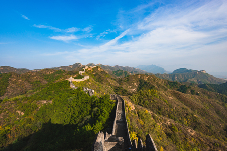Great Wall of Beijing, China Standard-Bild - 121149745