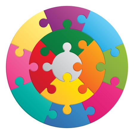 Round puzzle. 13 color parts. Иллюстрация