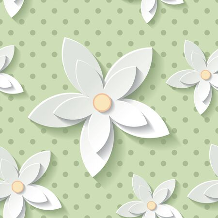 modern wallpaper: Beautiful background seamless pattern green with white blossoming flower. Floral modern wallpaper. Illustration