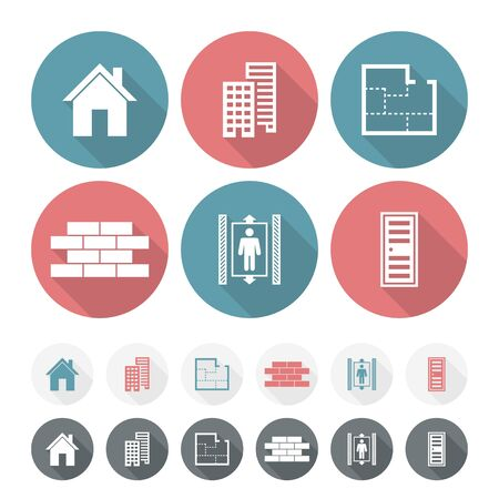 house shape: Set of simple building Flat Icons