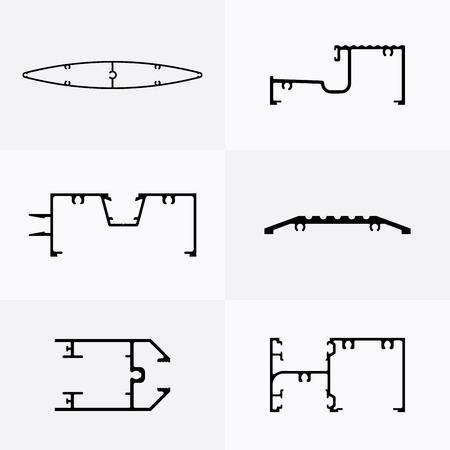 extrusion: Aluminum profiles icons