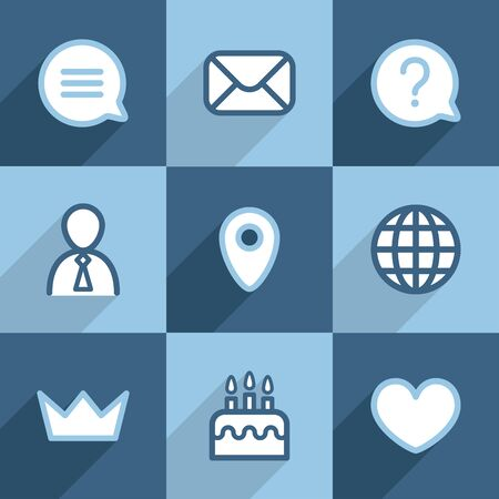 Set of flat line icons Vector