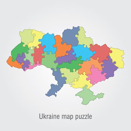 administrativo: Ucrania mapa rompecabezas administrativa Vectores
