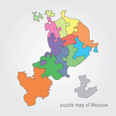 administrativo: Mosc� mapa administrativo rompecabezas