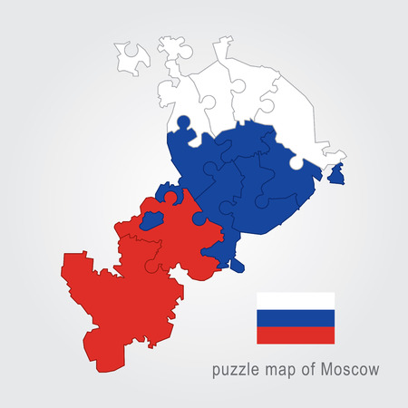megacity: Moscow administrative map puzzle flag