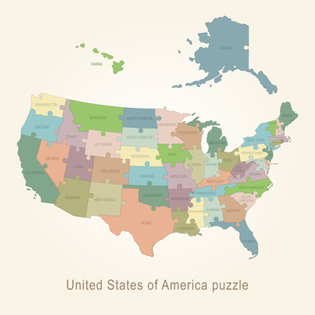 USA administrative map puzzle Vector