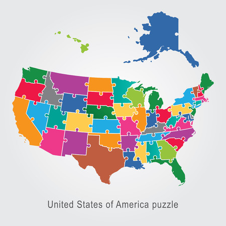 USA administrative map puzzle