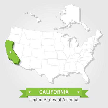 california state: California state. USA administrative map.