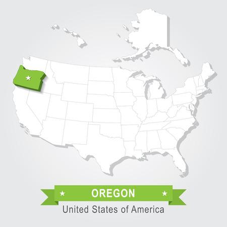 state of oregon: Oregon state. USA administrative map.