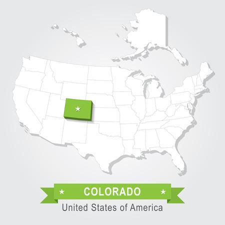 colorado: Colorado state. USA administrative map. Illustration