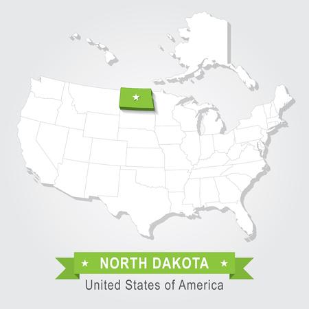 north dakota: North Dakota state. USA administrative map. Illustration