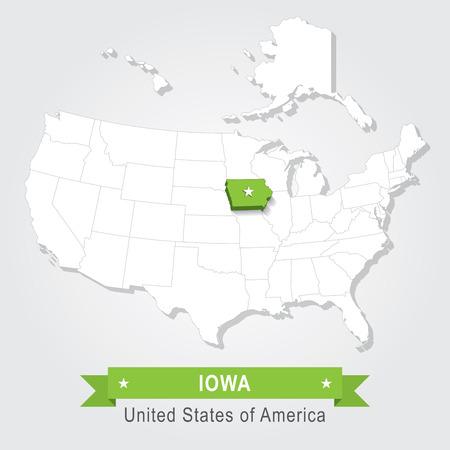 administrative: Iowa state. USA administrative map.