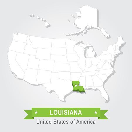 louisiana state: Louisiana state. USA administrative map. Illustration