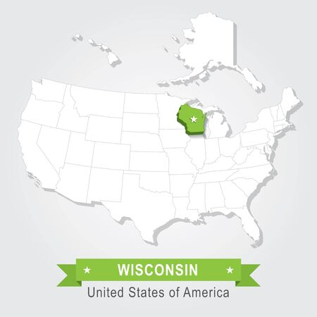 wisconsin flag: Wisconsin state. USA administrative map.