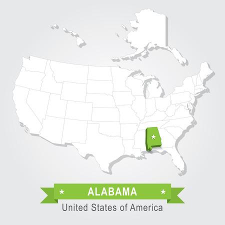 alabama state: Alabama state. USA administrative map. Illustration
