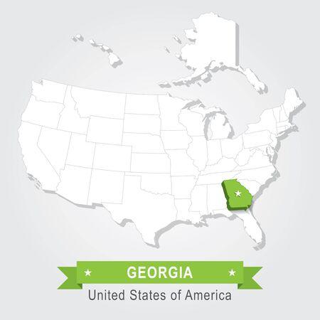 administrativo: del estado de Georgia. EE.UU. mapa administrativo. Vectores