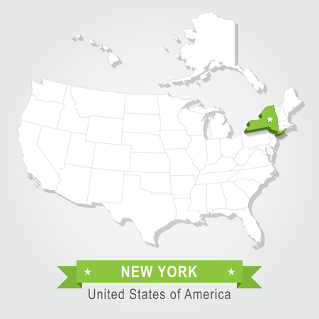 new york state: New York state. USA administrative map.
