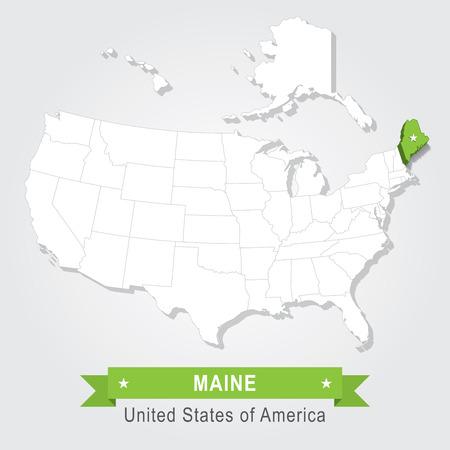 maine: Maine state. USA administrative map.