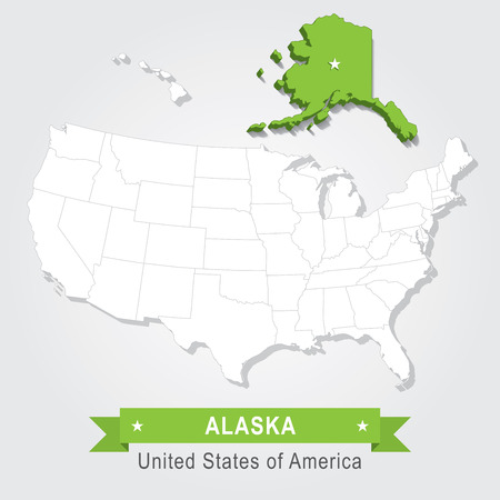 united states of america: Alaska state. USA administrative map.
